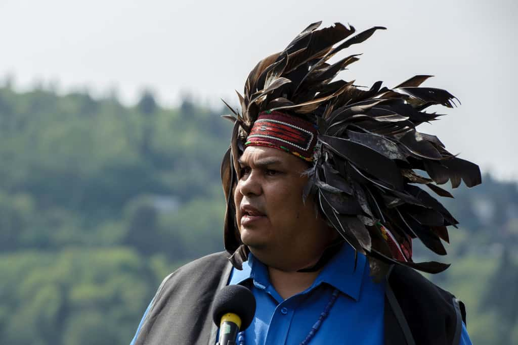 Rueben George speaks at the announcement of the Tsleil-Waututh Nation legal challenge of the Kinder Morgan Pipeline and Tankers Project Whey-ah-WichenCates Park. (CNW Group/Tsleil-Waututh Nation)